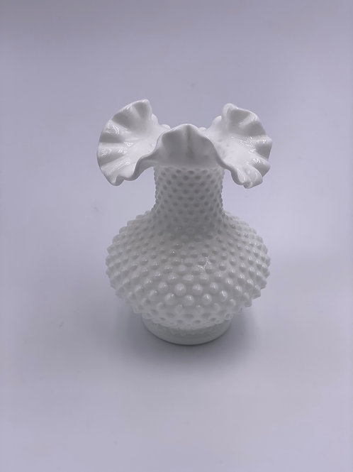 Vintage 'Hobnail' Ruffled Vase in 'Milk White'