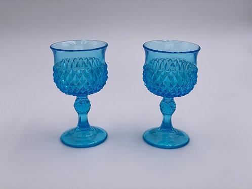 Vintage 'Diamond Point' Wine Glass in Light Blue