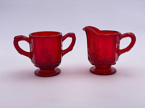 Vintage 'Panel Grape' Sugar & Creamer Set in Ruby Red