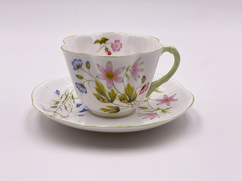 Vintage Shelley 'Wild Anemone' Teacup & Saucer