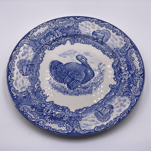 Set of (8) Vintage English 'Staffordshire' Dinner Plates in 'Blue & White'