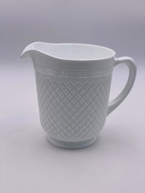'Addison' Pitcher in 'Milk White' by Mosser Glass