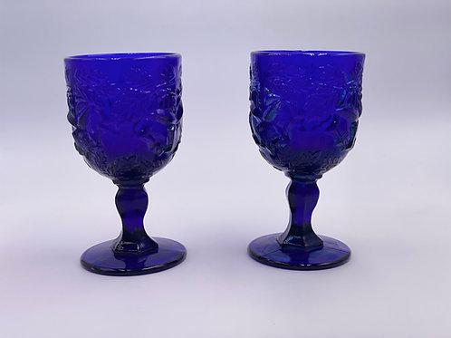 Vintage 'Wild Rose' Goblet in 'Cobalt'