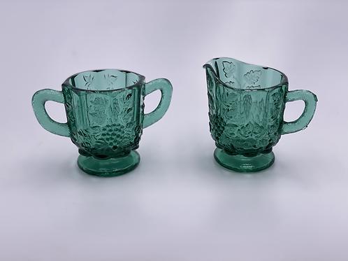 Vintage 'Panel Grape' Sugar & Creamer Set in 'Green'