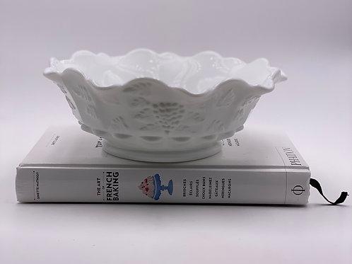Vintage 'Paneled Grape' Bowl in 'Milk Glass'