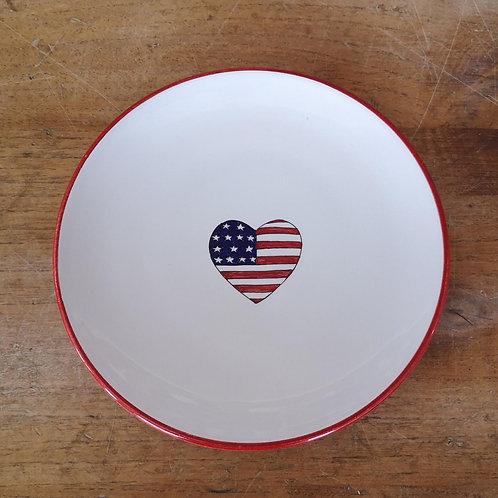 'Patriotic Heart' Dessert Plate (Individual) - Red Rim