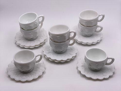 Vintage 'Paneled Grape' Teacup & Saucer in 'Milk Glass'
