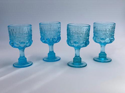 Vintage 'Eye Winker' Light Blue Wine Glass