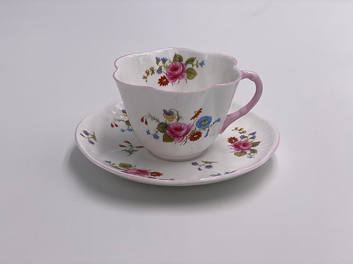 Vintage 'Rose & Red Daisy' Teacup & Saucer