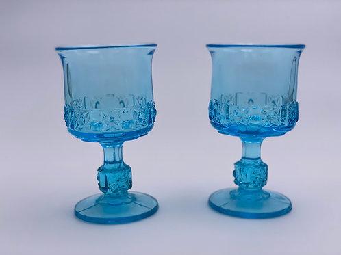 Vintage 'Daisy & Cube Stars & Bars' Light Blue Goblet