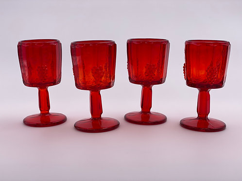 Vintage 'Panel Grape' Ruby Red Cordial Glass