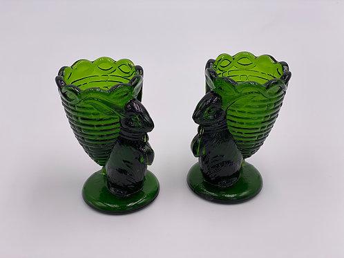 Vintage Set of (2) 'Green' Bunny Rabbit Toothpick Holders (Egg Cups)