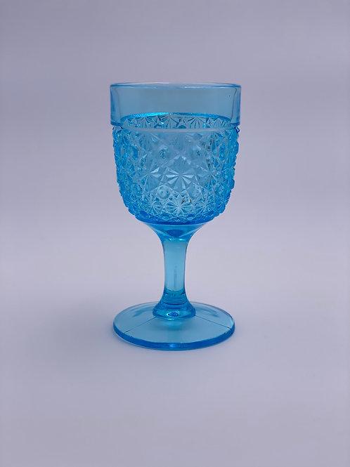 Vintage 'Daisy & Button' Light Blue Goblet