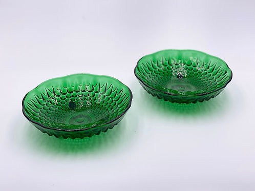 Duo of Vintage 'Hobnail' Bowls in 'Green' (Set of Two)