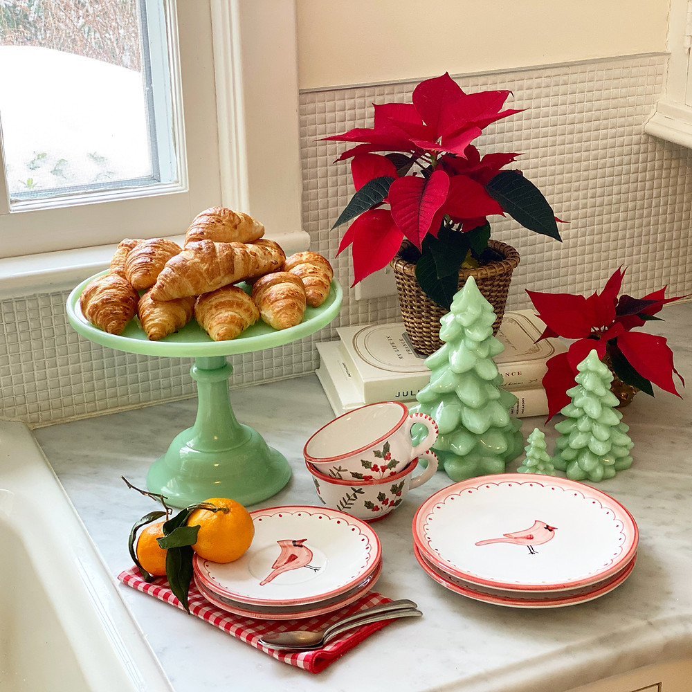 Pictured above are pieces from our Cardinal ceramics collection, featured alongside the Jadeite glassware - both a cake stand and three varying tree sizes by Mosser Glass. All items are for sale in our online shop.