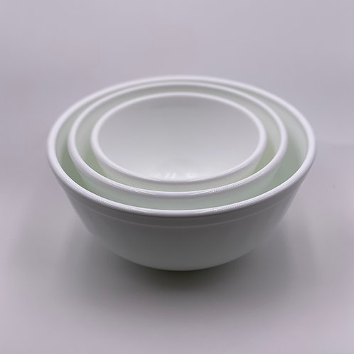 Mosser Glass Mixing Bowl Set in 'Milk White'
