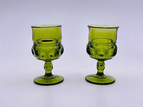Vintage 'Kings Crown' Goblet in 'Green'