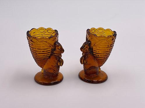 Vintage Set of (2) 'Amber' Bunny Rabbit Toothpick Holders (Egg Cups