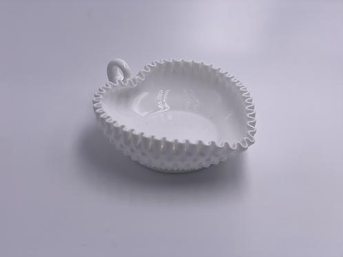 Vintage 'Hobnail' Heart-Shaped Bowl in 'Milk White'