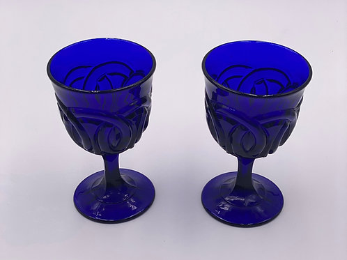 Vintage 'Double Wedding Ring' Cobalt Goblet