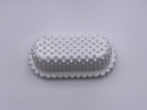 Vintage 'Hobnail' Covered Butter Dish in 'Milk White'
