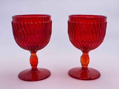 Vintage 'Jersey Swirl' Goblet in 'Amberina'