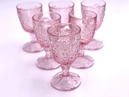 Vintage 'Daisy & Button Thumbprint Panel' Pink Goblet