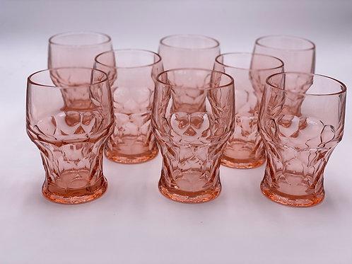 Vintage 'Georgian' Pink Glasses (Large) - Set of 8