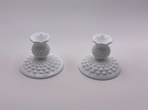 Vintage Fenton 'Hobnail' Candlestick Holders in 'Milk White' (Set of Two)