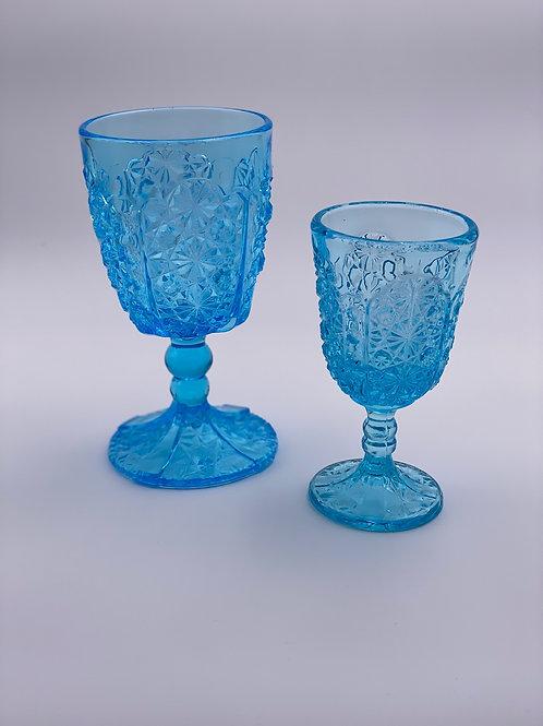 Vintage 'Daisy & Button Thumbprint Panel' Light Blue Wine Glass