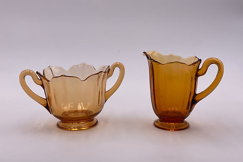 Vintage 'Maple' Sugar & Creamer in 'Amber' (Set of Two)