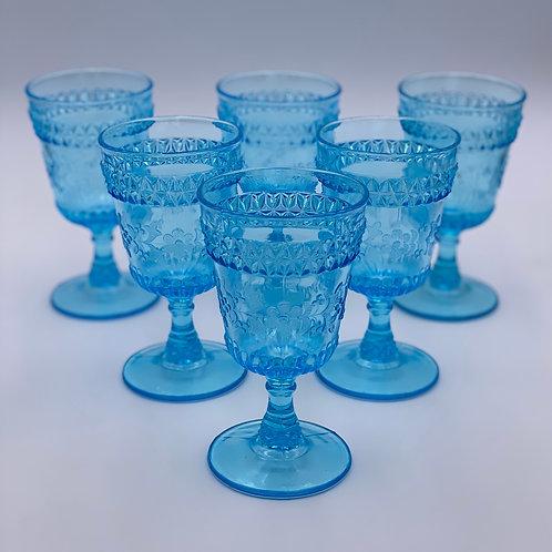 Vintage 'Wildflower' Light Blue Goblet