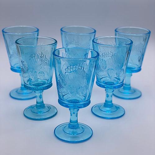 Vintage 'Strawberry & Currant' Light Blue Goblet