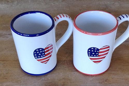 'Patriotic Heart' Mug (Large - 16 oz.) - Red Rim
