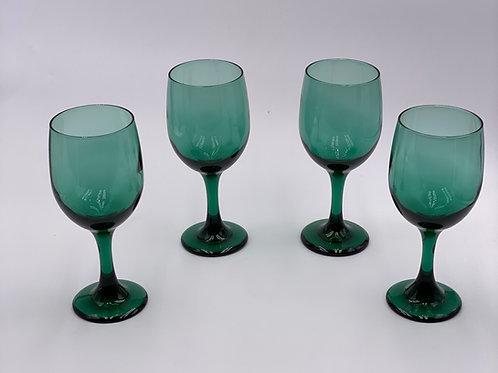 Vintage 'Libbey' Wine Glasses in 'Juniper Green' (Set of 4)