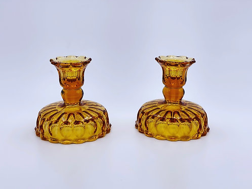 Vintage 'Thumbprint' Colonial Candlesticks in 'Amber' (Set of Two)