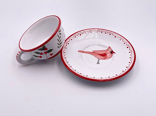 Boxed Set of (4) 'Cardinal' Teacups & Saucers