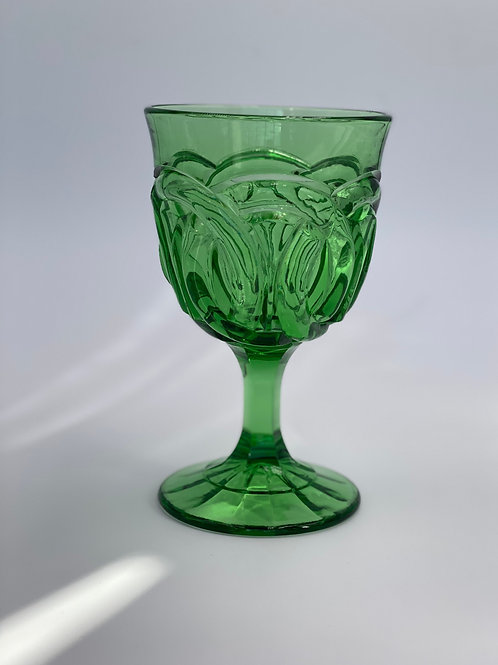 Vintage 'Double Wedding Ring' Green Goblet