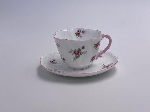Vintage Shelley 'Rosebud' Teacup & Saucer - Pink Trim