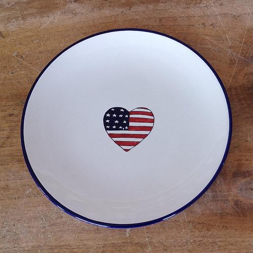 'Patriotic Heart' Dessert Plate (Individual) - Blue Rim