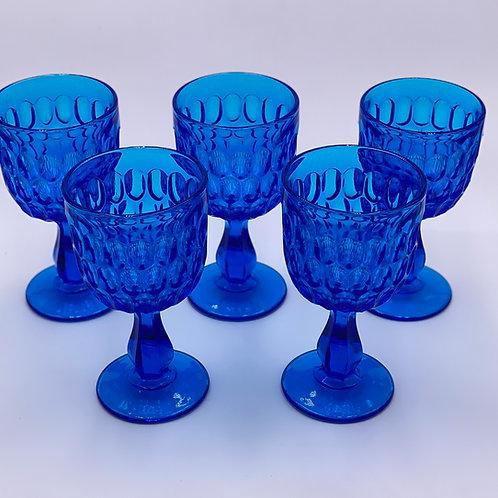Vintage 'Thumbprint' Colonial Blue Goblet