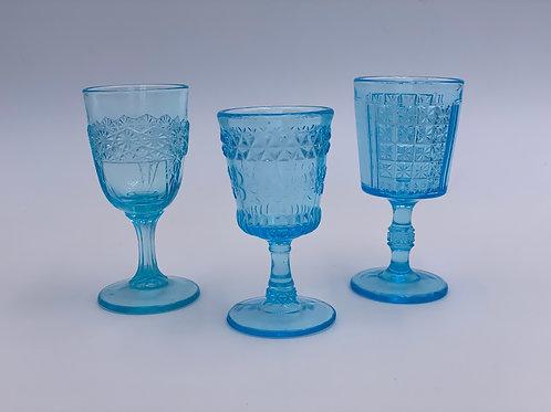 Vintage 'Fostoria' Light Blue Cordial Glass Trio