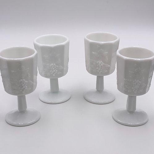 Vintage 'Paneled Grape' Goblet in 'Milk Glass'