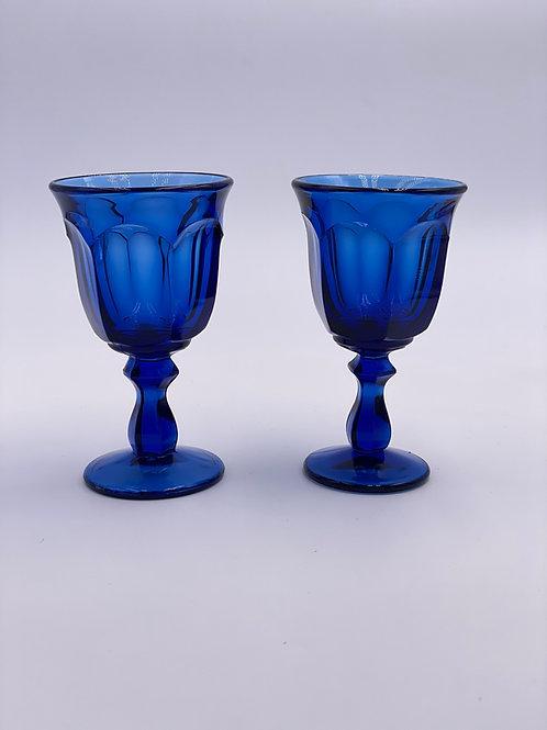Vintage 'Old Williamsburg' Midnight Blue Wine Glass