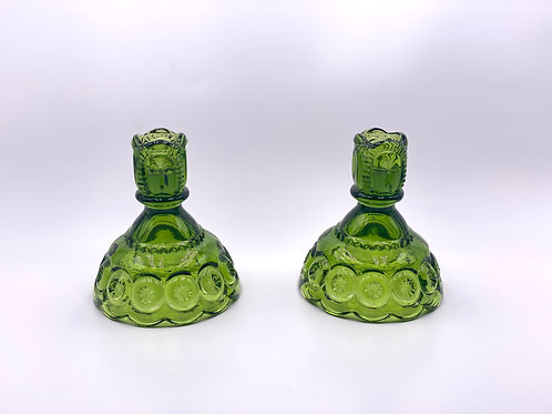 Vintage 'Moon & Stars' Candlesticks in 'Green' (Set of Two)