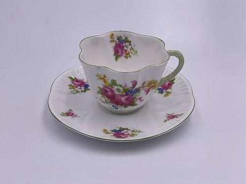 Vintage Shelley 'Hulmes Rose' Teacup & Saucer