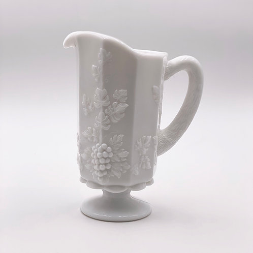 Vintage 'Paneled Grape' Pitcher in 'Milk Glass'