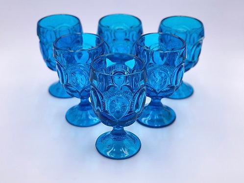 Vintage 'Moon & Stars' Aqua Blue Goblet