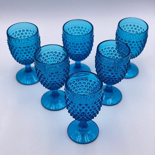 Vintage 'Hobnail' Aqua Blue Goblet