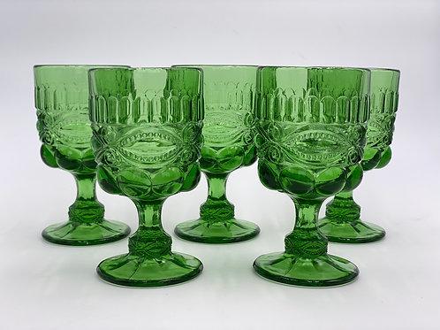 Vintage 'Eye Winker' Green Goblet